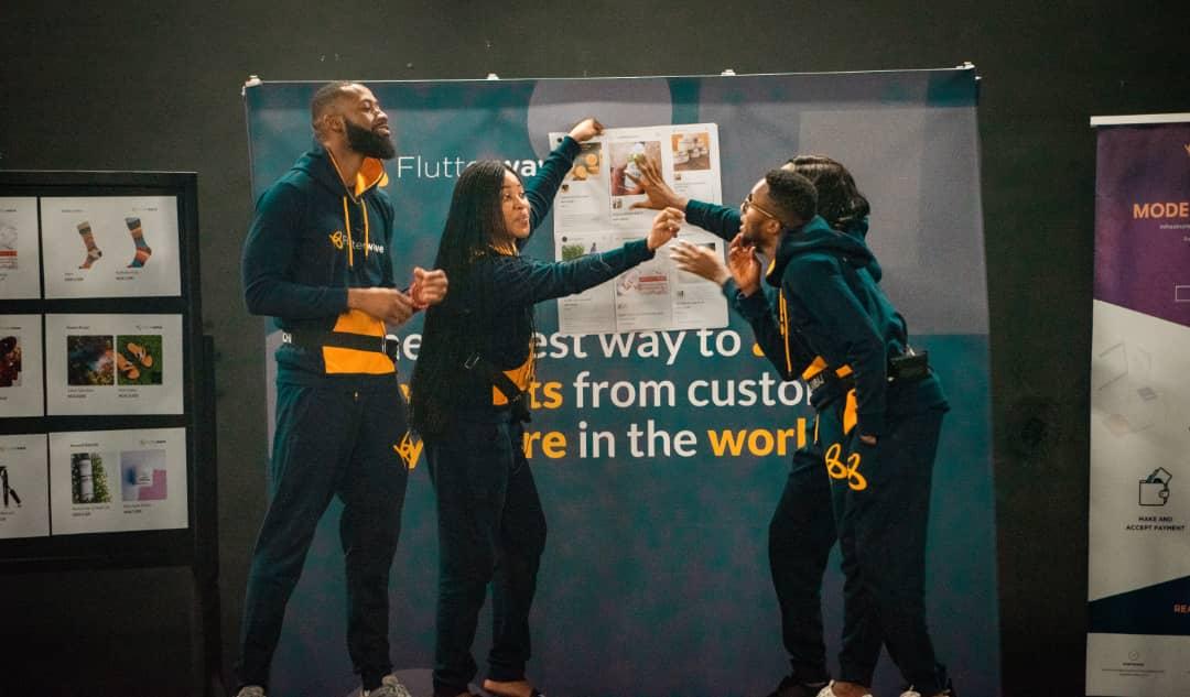 Tolanibaj, Brighto, Erica showing off their craft during the FlutterwavexBBnaija Challenge